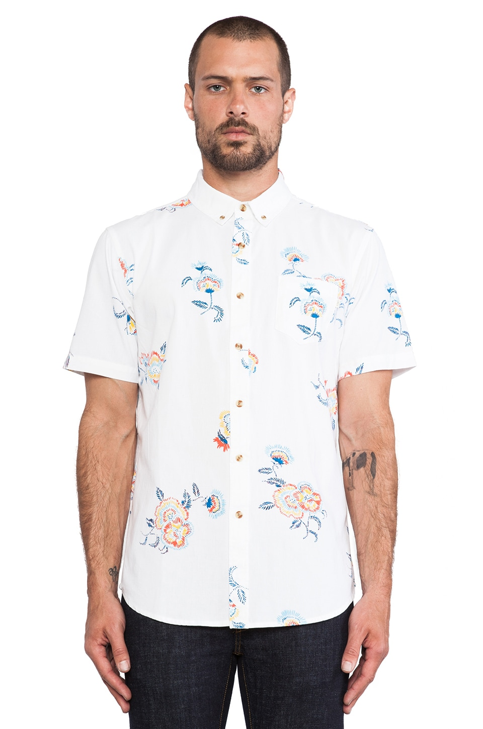 Obey Patton Button Up in White
