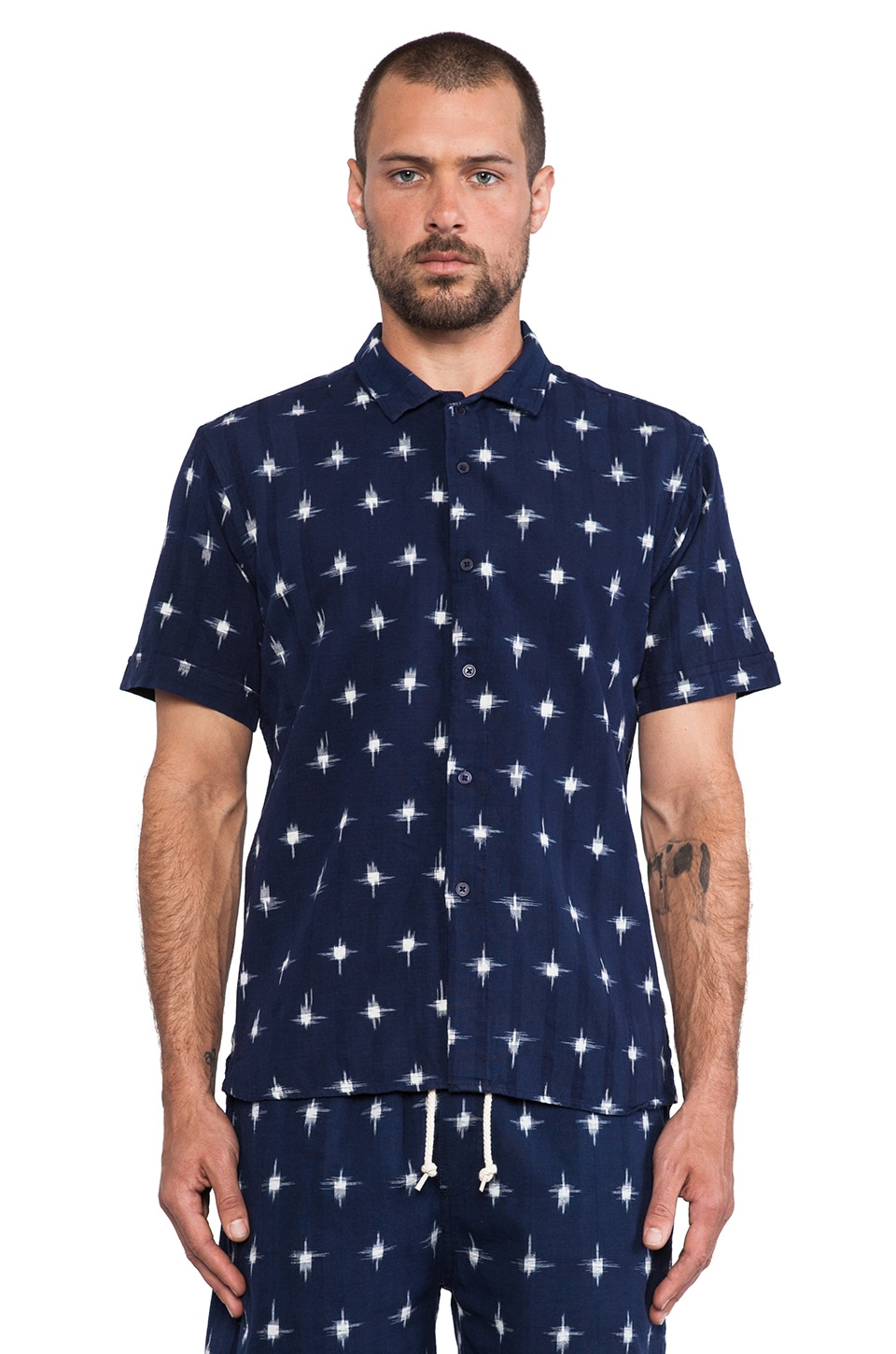Obey Pueblo Button Up in Indigo