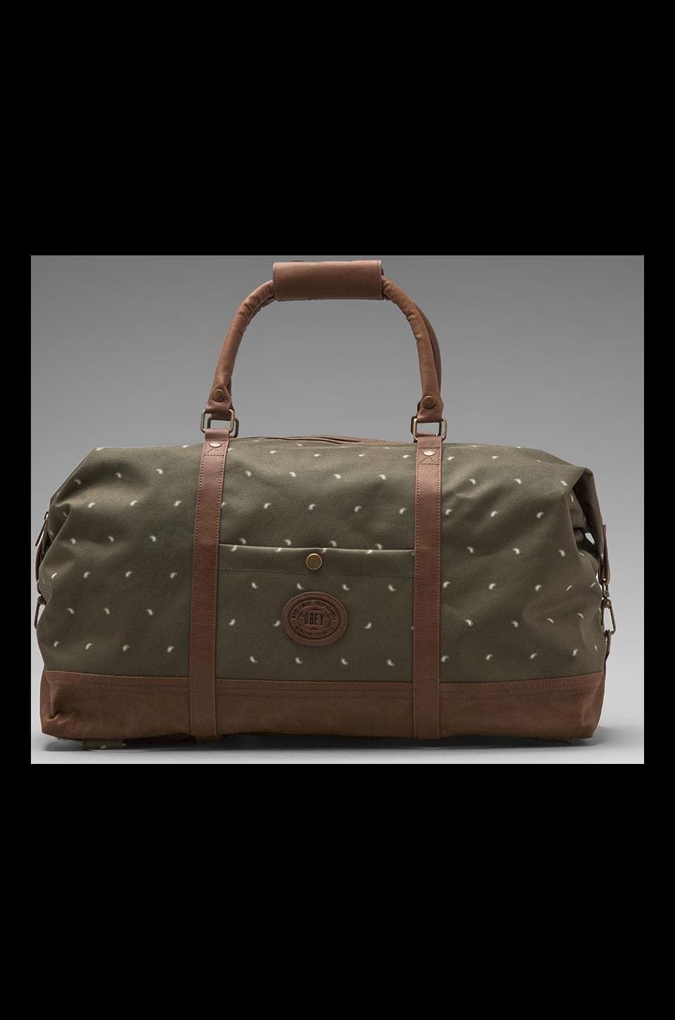 Obey Ballast Micro Paisley Print Duffle in Olive
