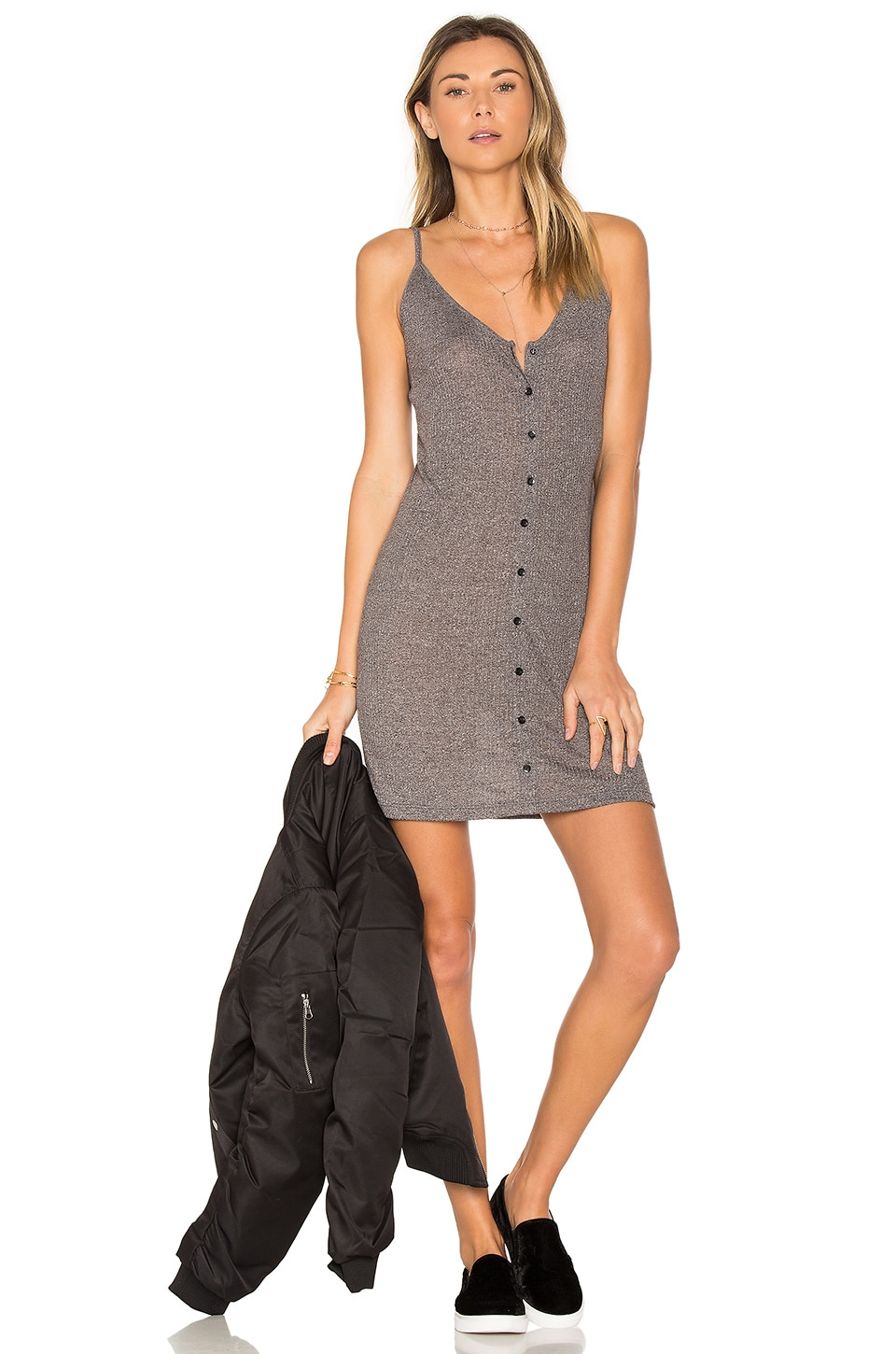 Obey Barbados Dress in Heather Grey