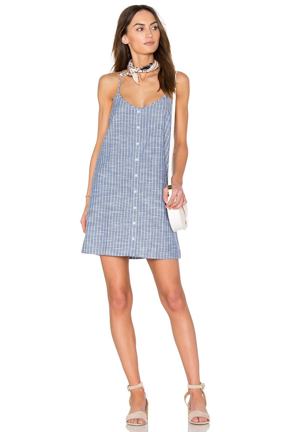 Obey Sanders Dress in Chambray Multi