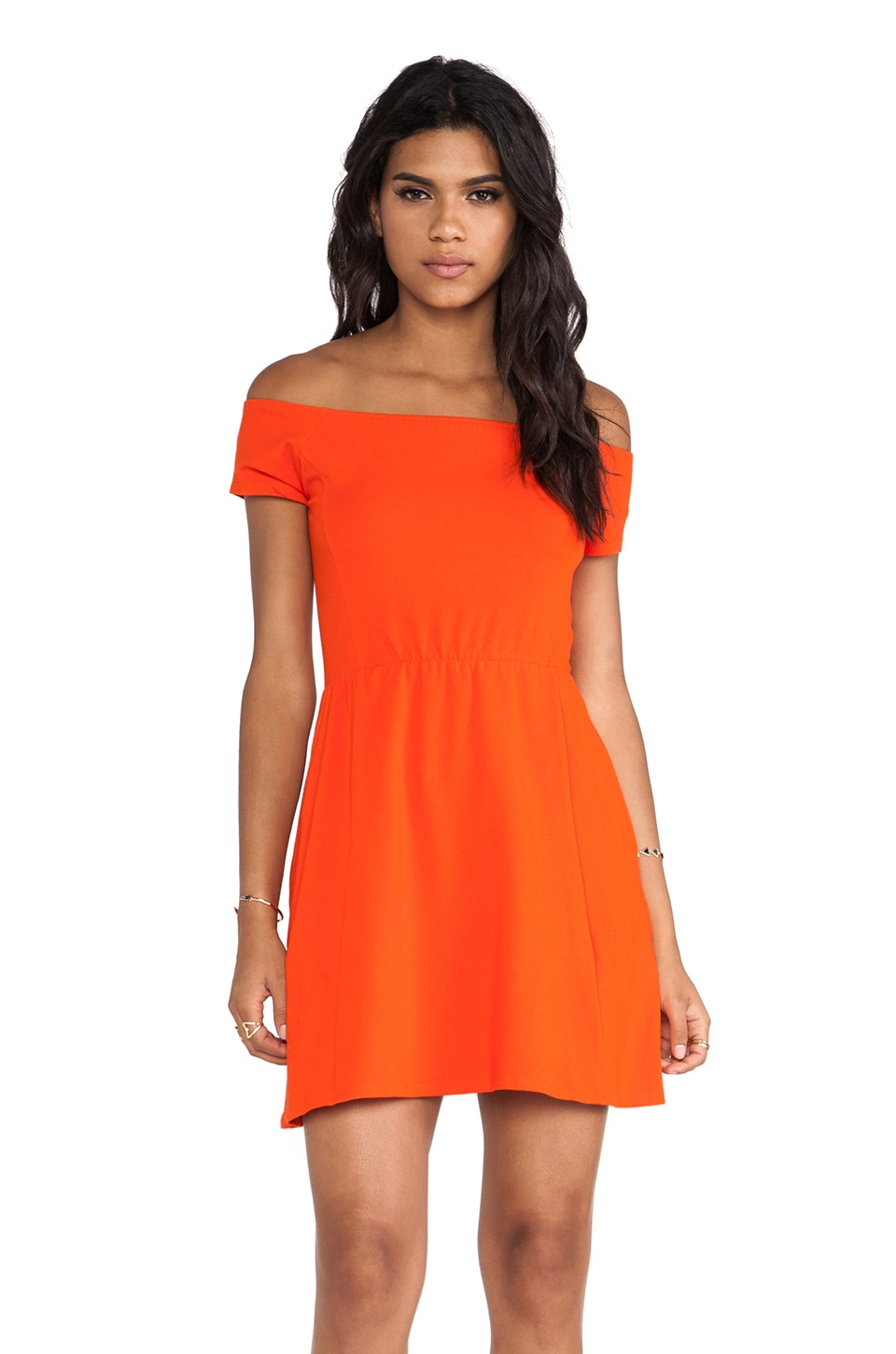 Obey Rockaway Train Dress in Red Orange