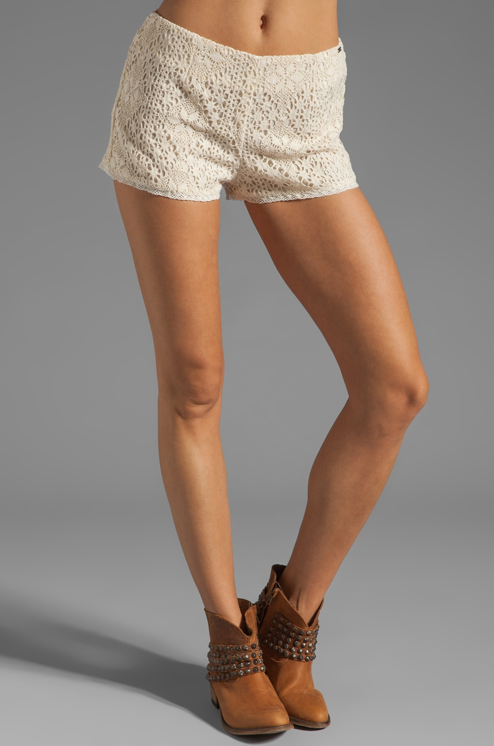 Obey Stevie Lace Short in Cream