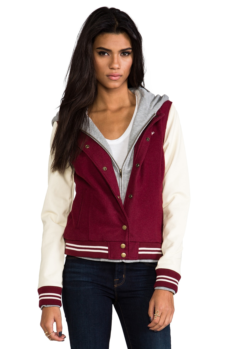 Obey Varsity Jacket in Burgundy & Cream