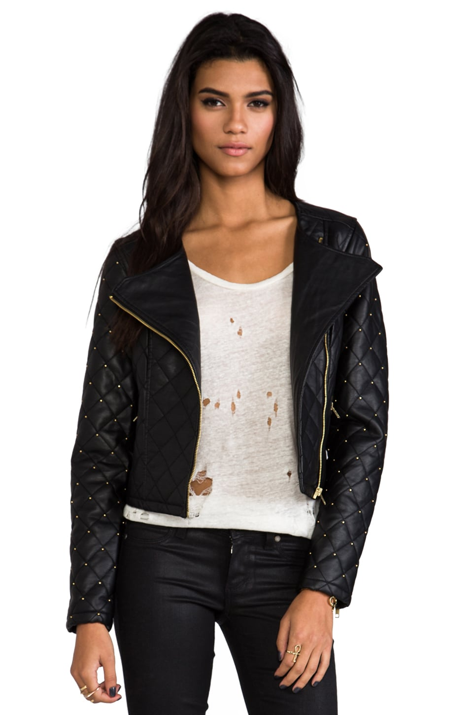 Obey Neon Night Biker Jacket in Black