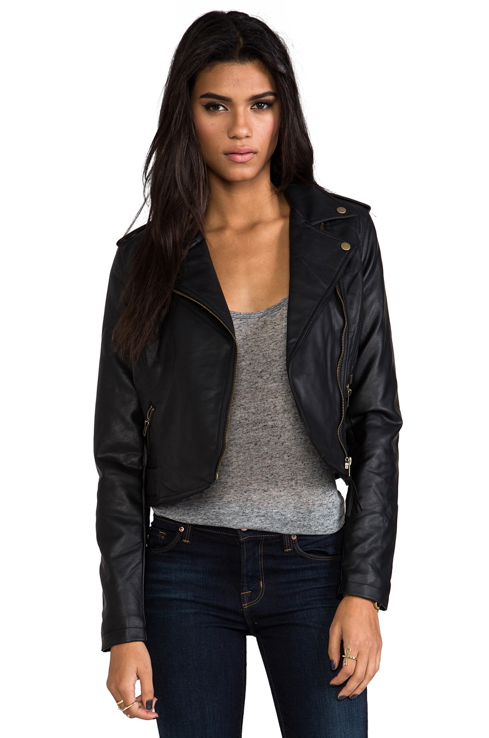 Obey Hideout Moto Jacket with Faux Fur in Black