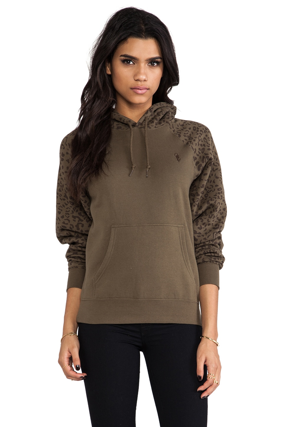 Obey Highland Sweatshirt in Army & Leopard