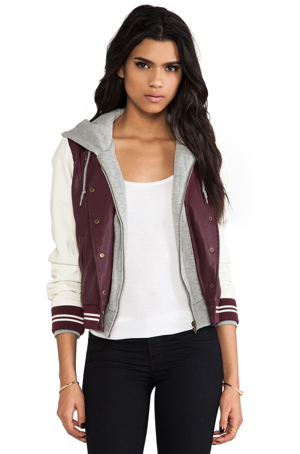 Obey Varsity Lover Jacket in Port Royale & Cream
