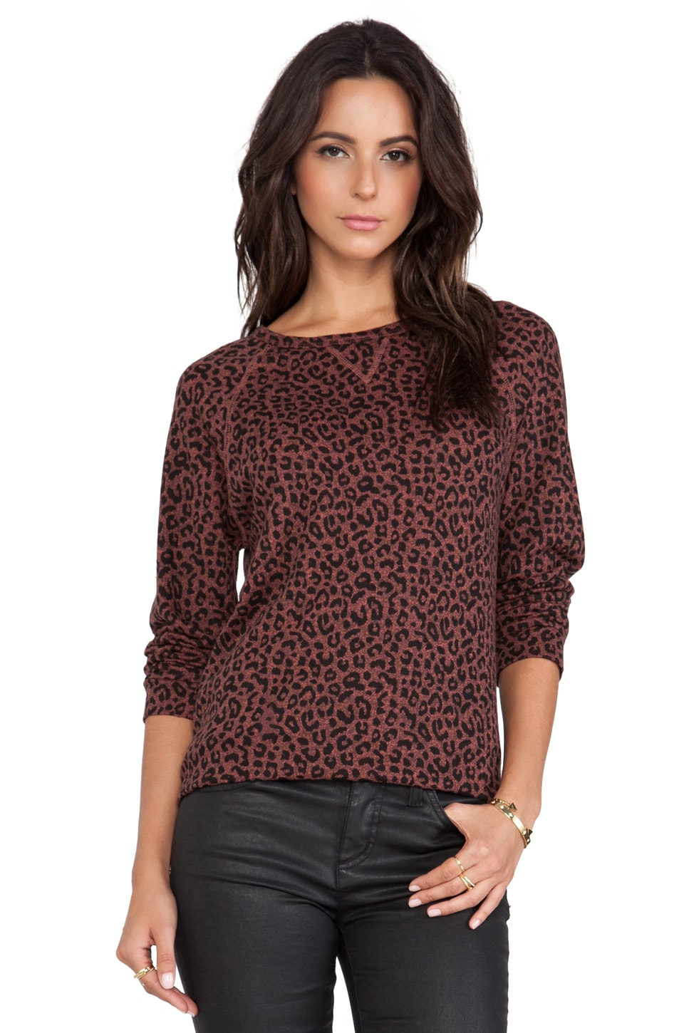 Obey Echo Mountain Sweatshirt in Brown Leopard