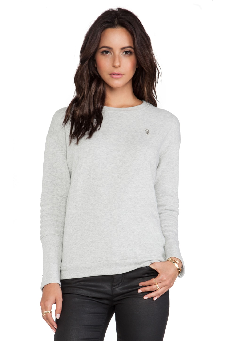 Obey Lofty Mountain Moto Crew Sweatshirt in Ash Grey