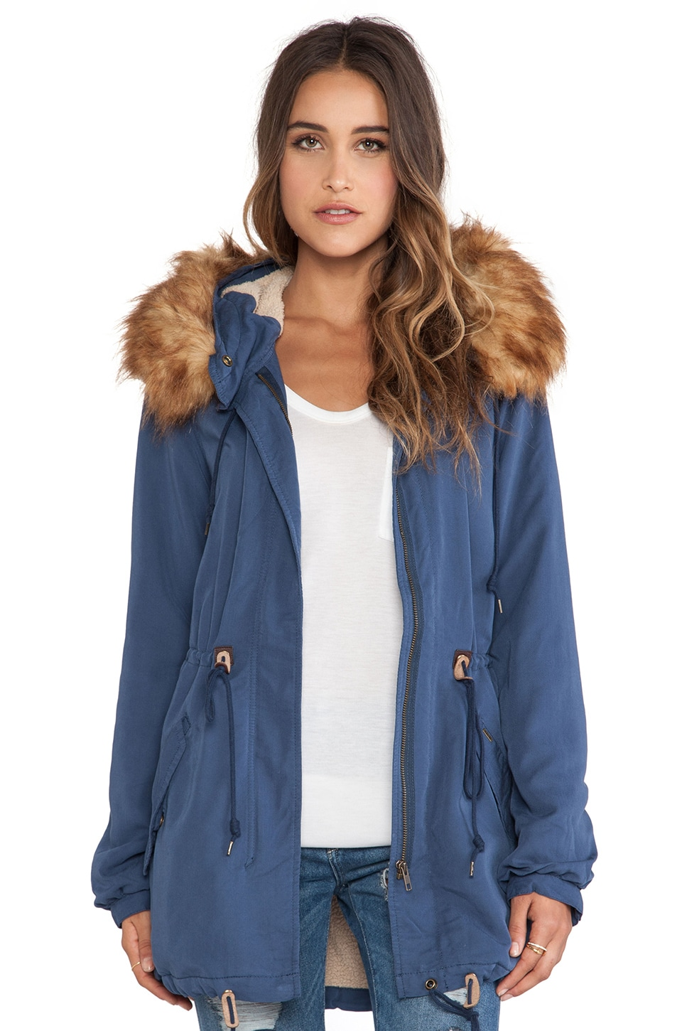 Obey Knightsbridge Jacket with Faux Fur Collar in Washed Indigo