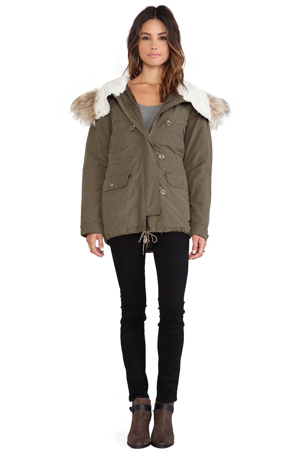 Obey Observer Parka with Faux Fur Trim in Army