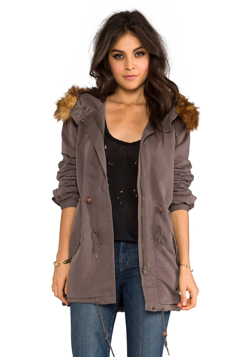 Obey Knightsbridge Military Jacket with Faux Fur Trim in Army