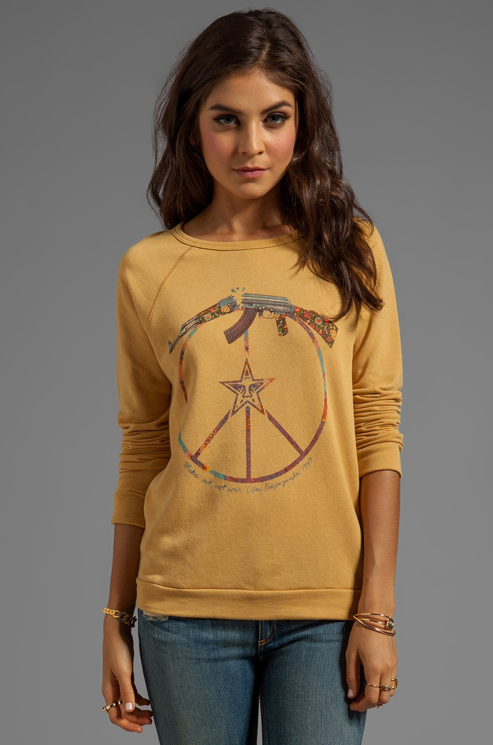 Obey Broken Gun Sweatshirt in Amber Gold