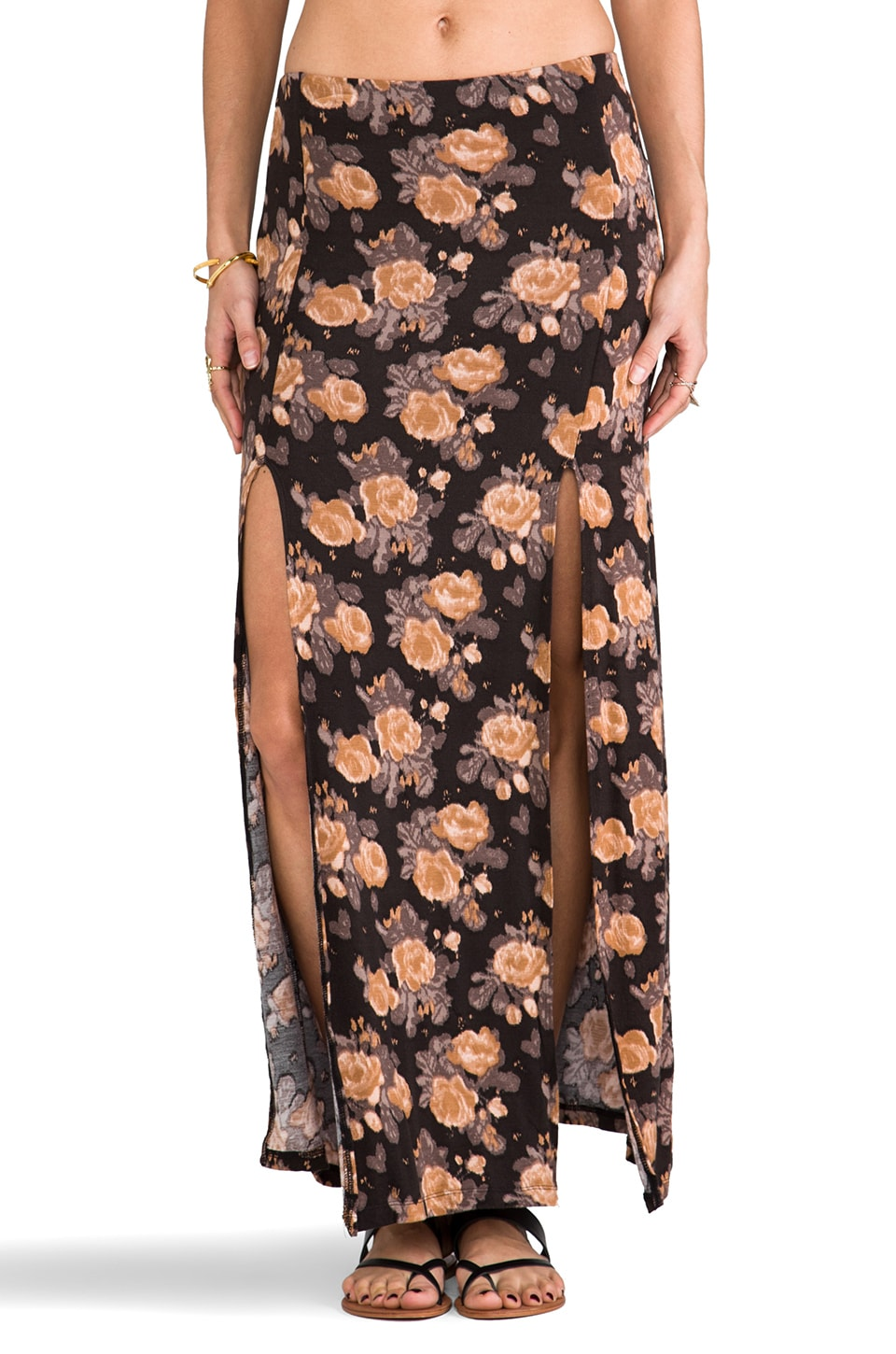 Obey Love Scene High Slit Skirt in Mauve Floral