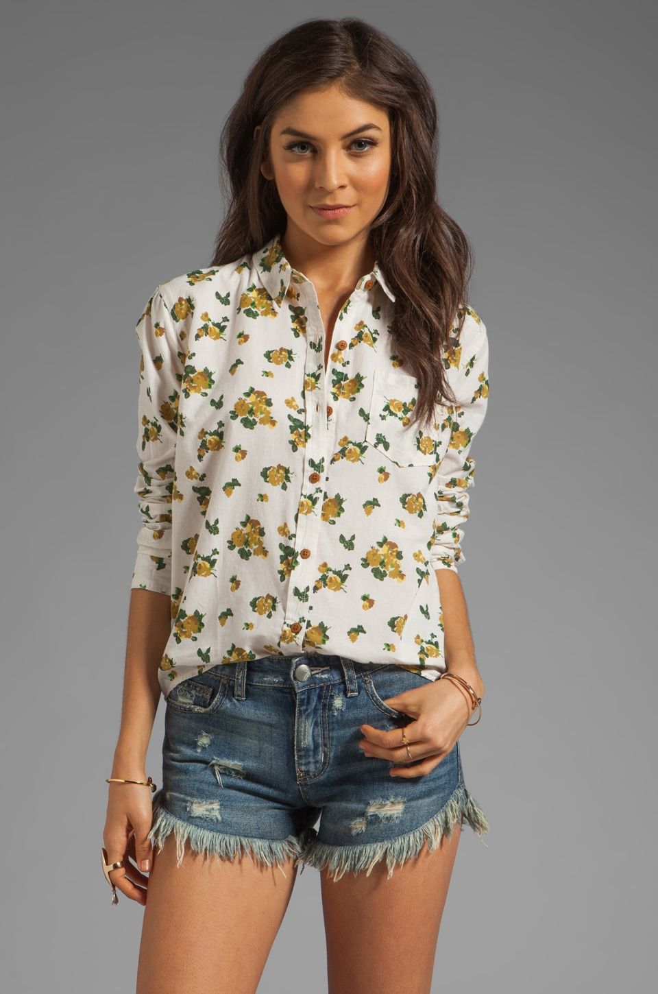 Obey Wilted Floral Shirt in Oatmeal