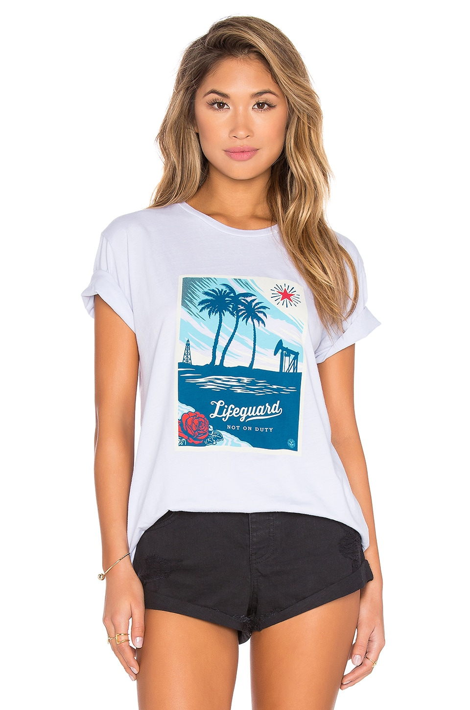 Obey Lifeguard Not On Duty Classic Tee in Light Blue