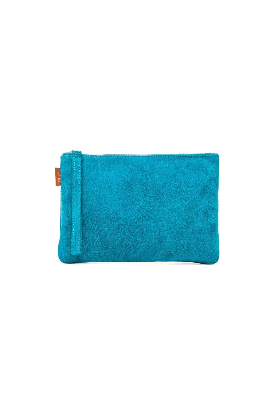 Obey Adieu Suede Clutch Pouch in Turquoise