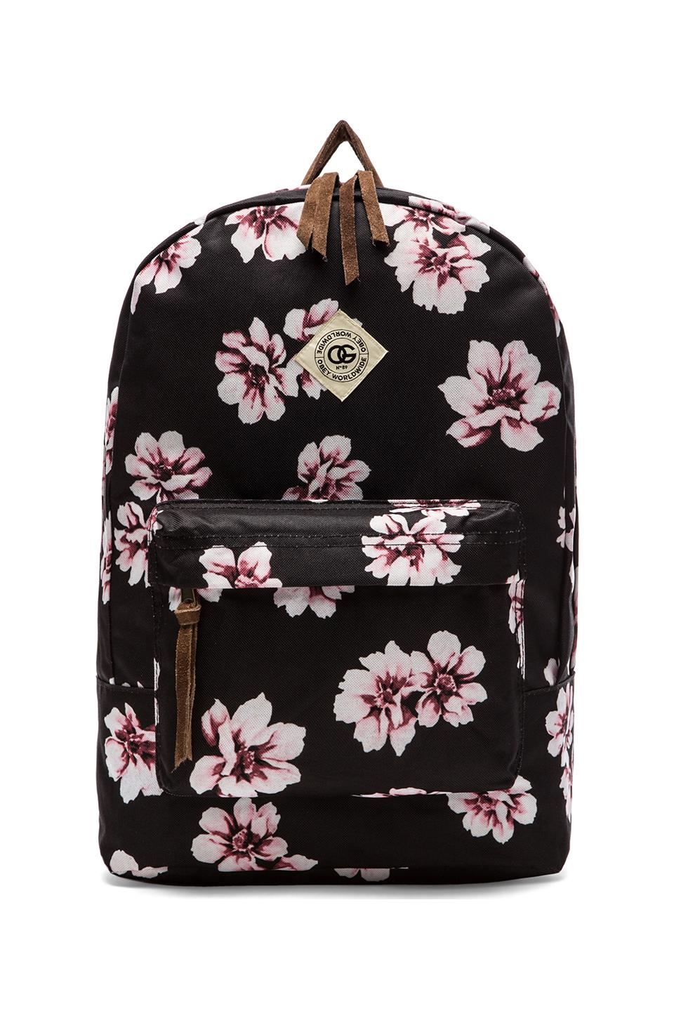 Obey Outsider Backpack in Black Floral