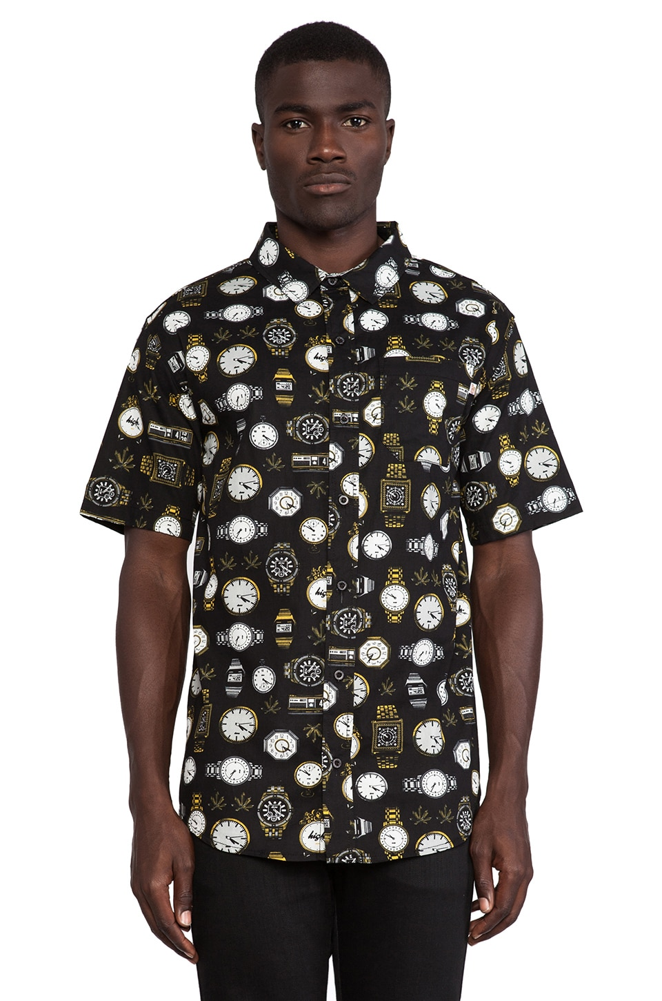 Odd Future Domo High Tick Toke Button Up in Black