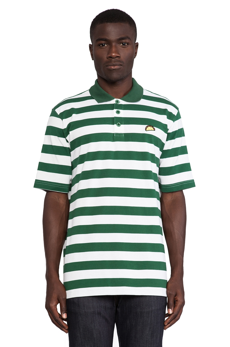 Odd Future Taco Green Stripe Polo in Green