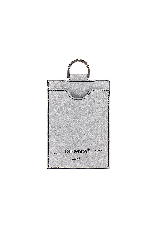 OFF-WHITE Seasonal Logo Badge Holder in Silver & Black