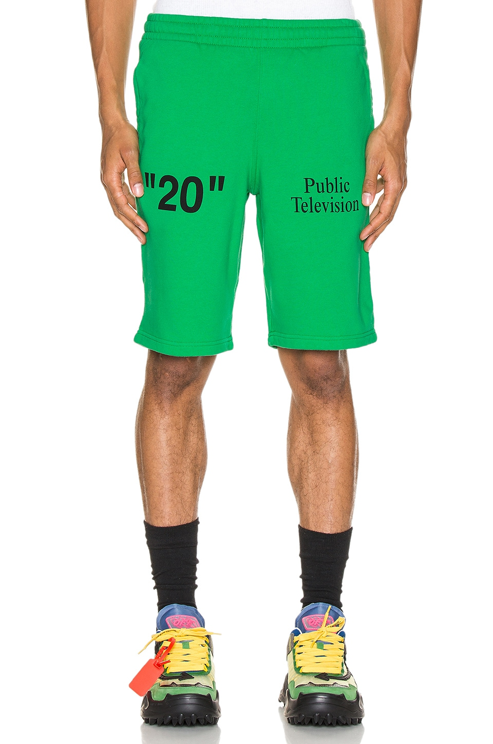 OFF-WHITE Mirko Artist Sweatshorts in Green & Black