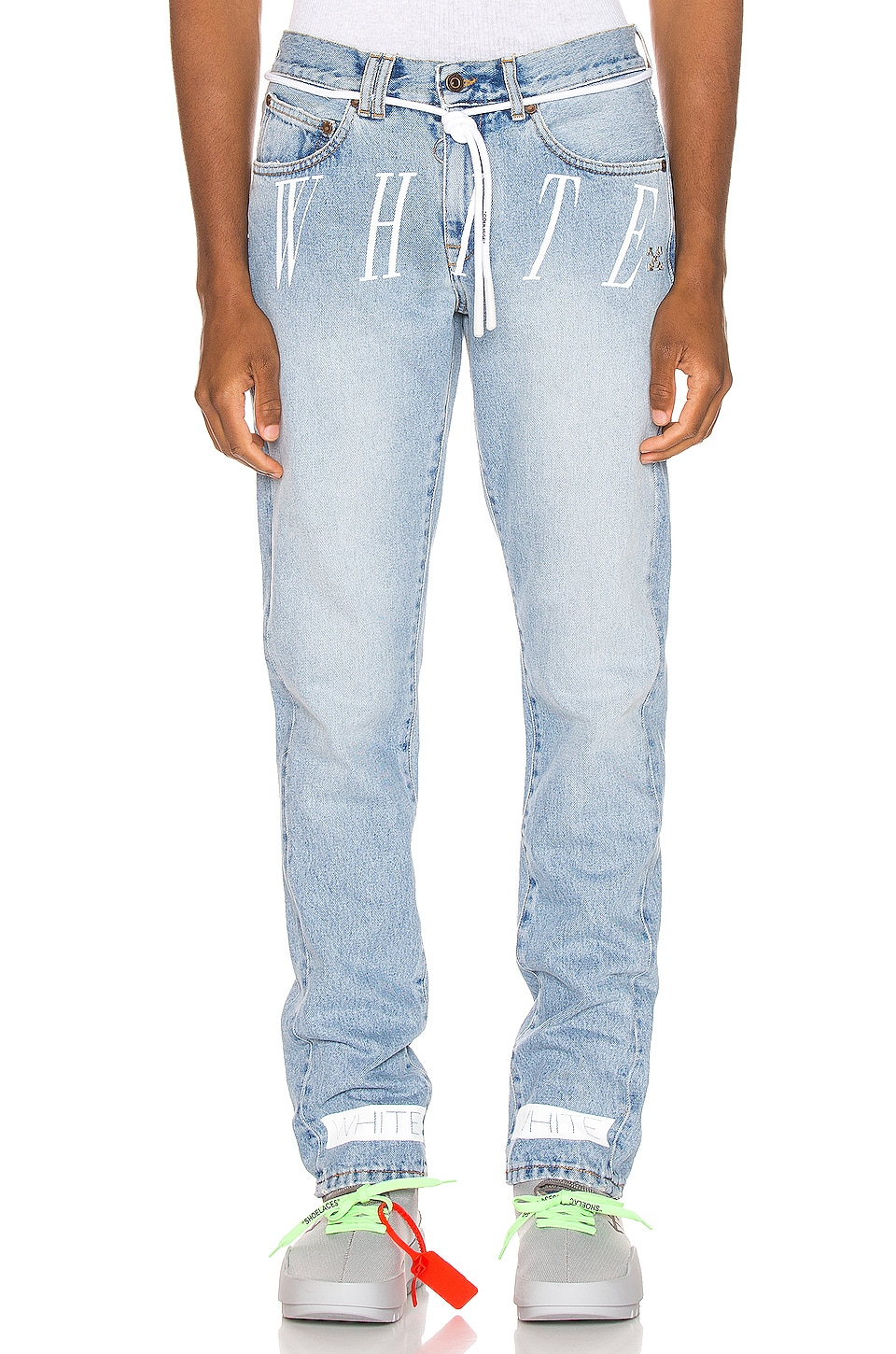 OFF-WHITE Slim Denim Jean in Bleach Nikel