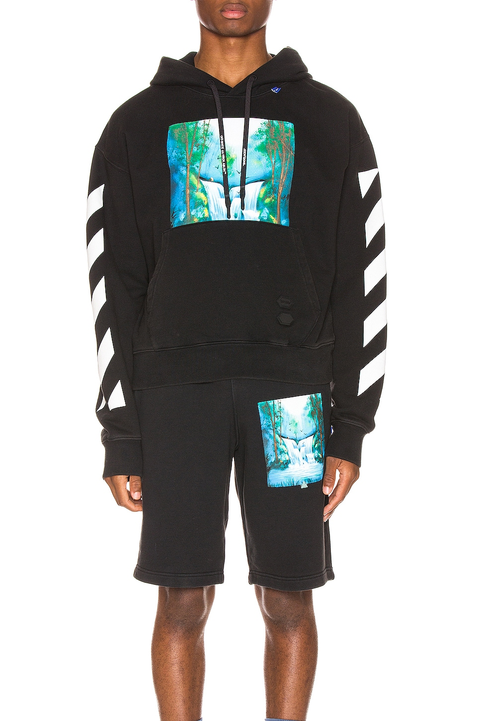OFF-WHITE Diag Waterfall Hoodie in Black Multi