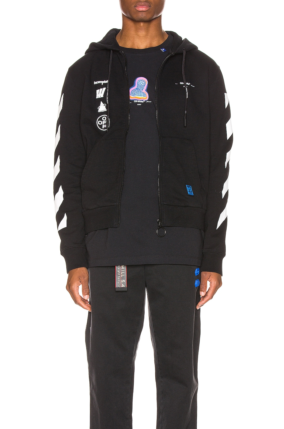 OFF-WHITE Mariana Zipped Hoodie in Black Multi