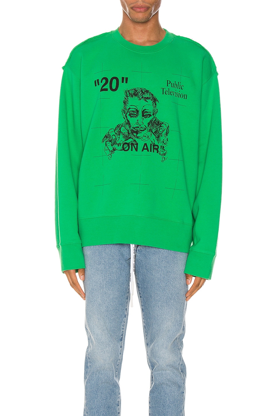 OFF-WHITE Mirko Artist Crewneck in Green & Black