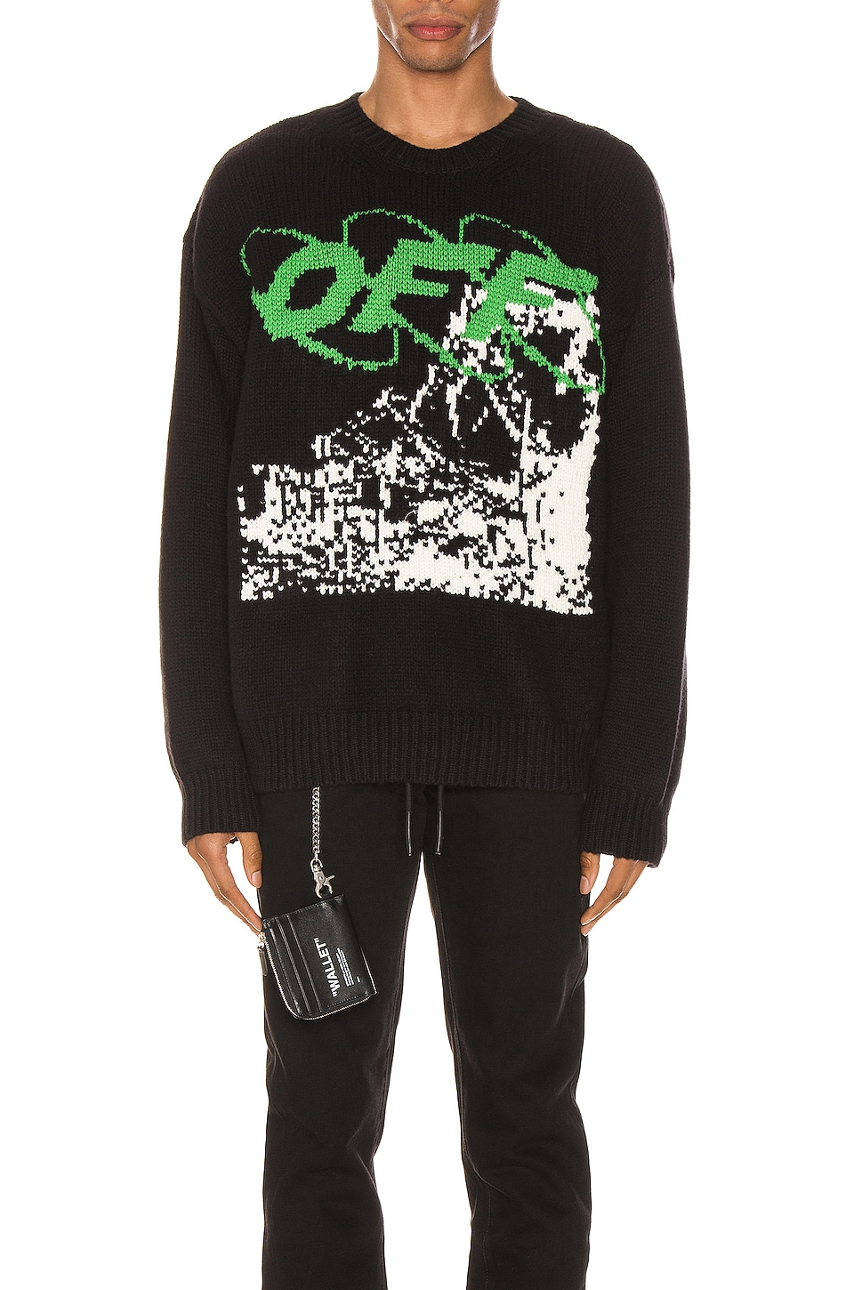 OFF-WHITE Ruined Factory Knit Crewneck en Black & White