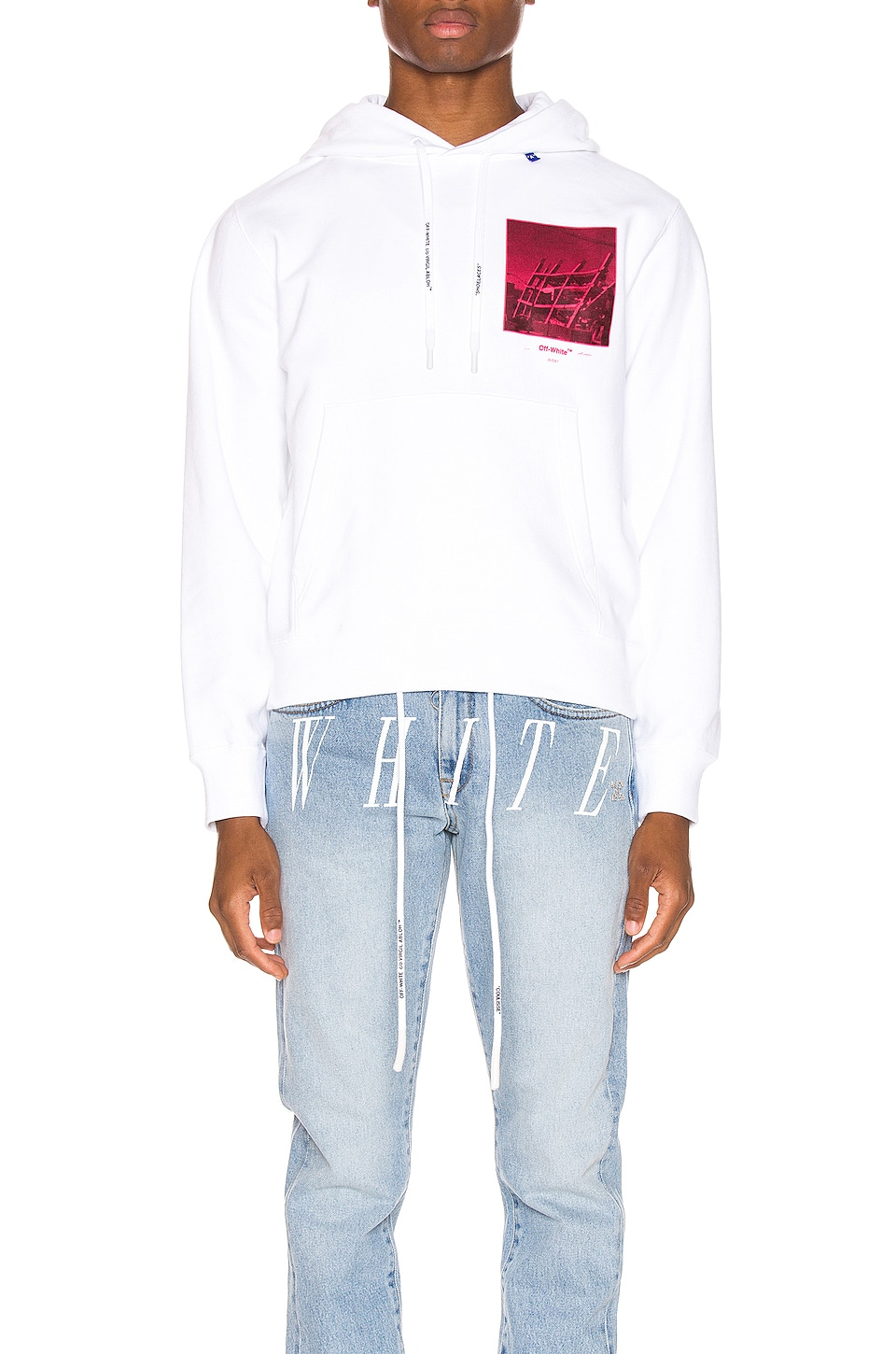 OFF-WHITE Halftone Arrows Hoodie in White & Fuchsia