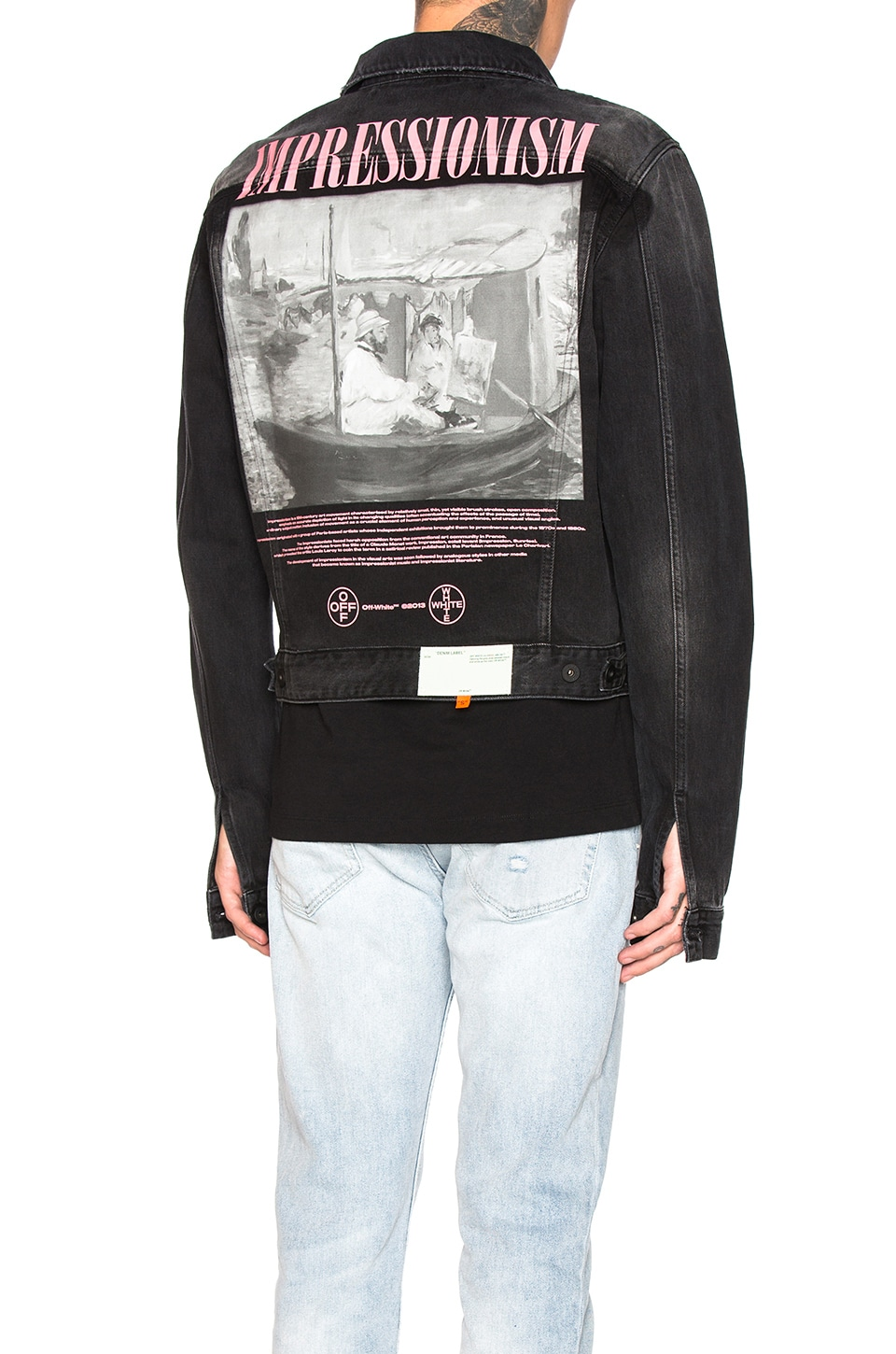 OFF-WHITE Exaggerated Denim Jacket in Black Multi