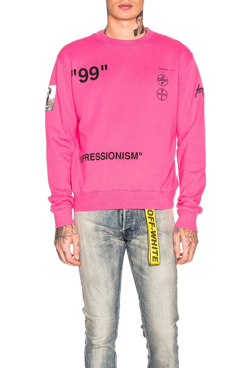 OFF-WHITE Boat Self Crewneck Sweatshirt in Fuchsia Multi