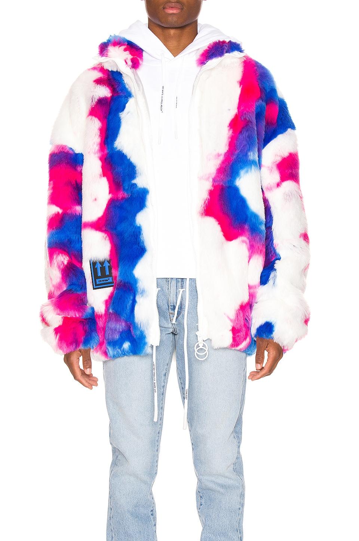 OFF-WHITE Faux Fur Zip Anorak in Multi