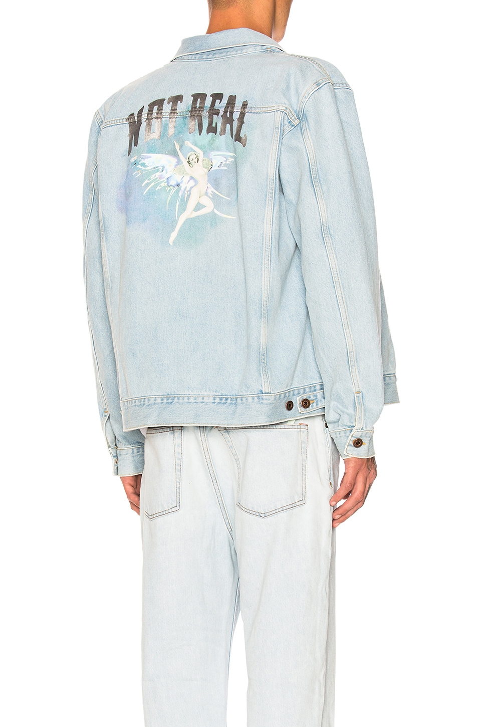 a96ca17f4914 OFF-WHITE Not Real Angel Oversized Denim Jacket in Bleach Multi ...