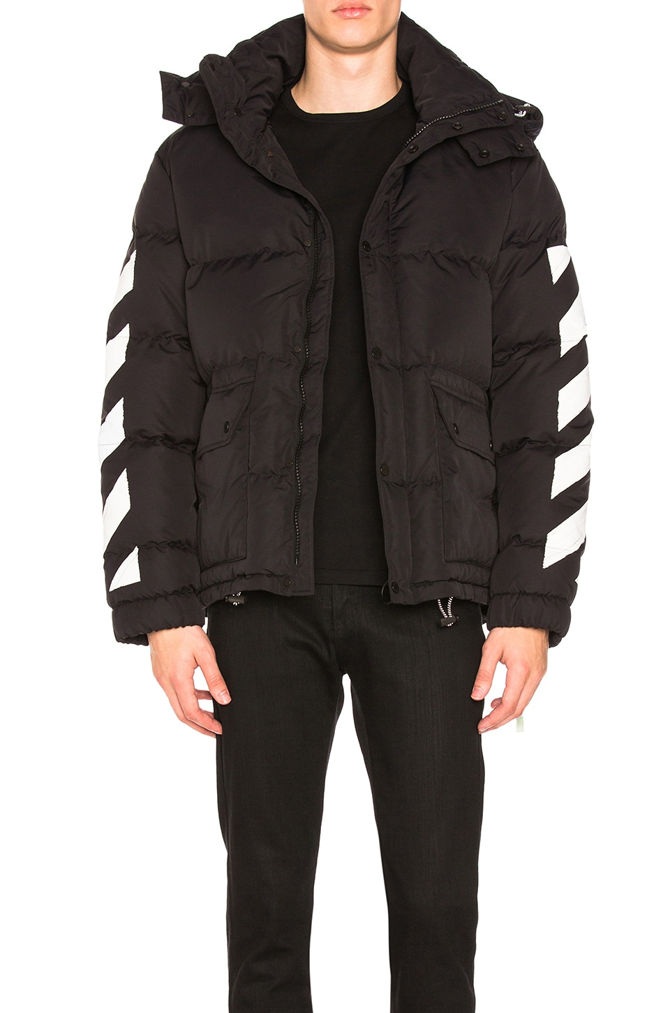 OFF-WHITE Diagonal Brushed Down Jacket in Black & White