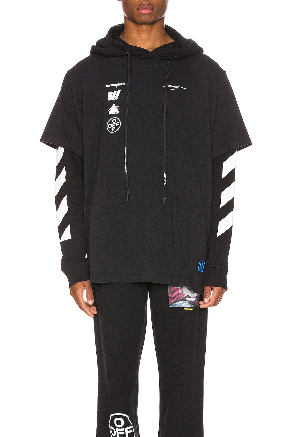 OFF-WHITE Diag Mariana Hooded Double Tee in Black Multi