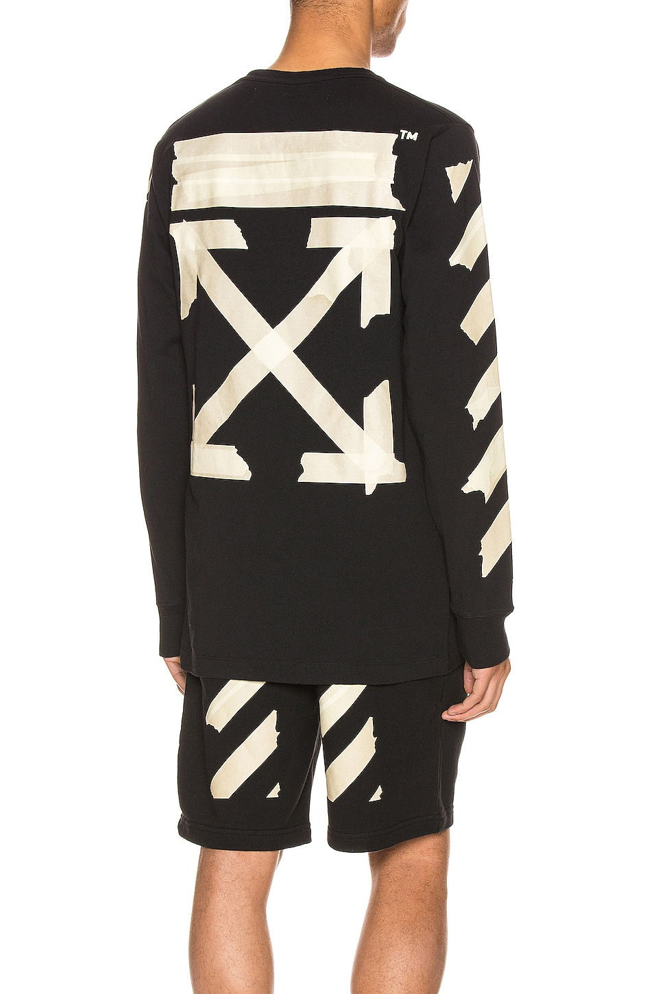 OFF-WHITE Tape Arrows Long Sleeve Tee in Black & Beige