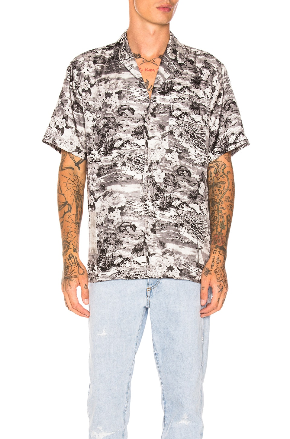 64a54132 OFF-WHITE Hawaiian Shirt in Black & White | REVOLVE