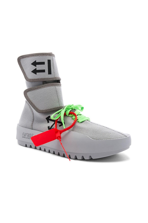 OFF-WHITE Moto Wrap Sneaker in Light Grey & Black