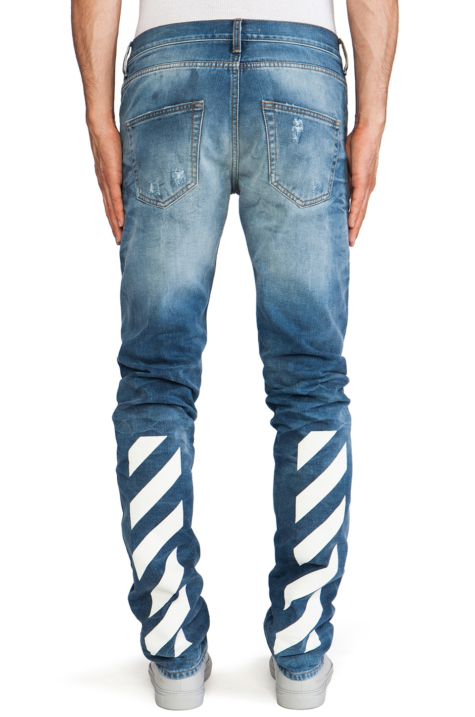OFF-WHITE Jean with White Text in Vintage Wash | REVOLVE
