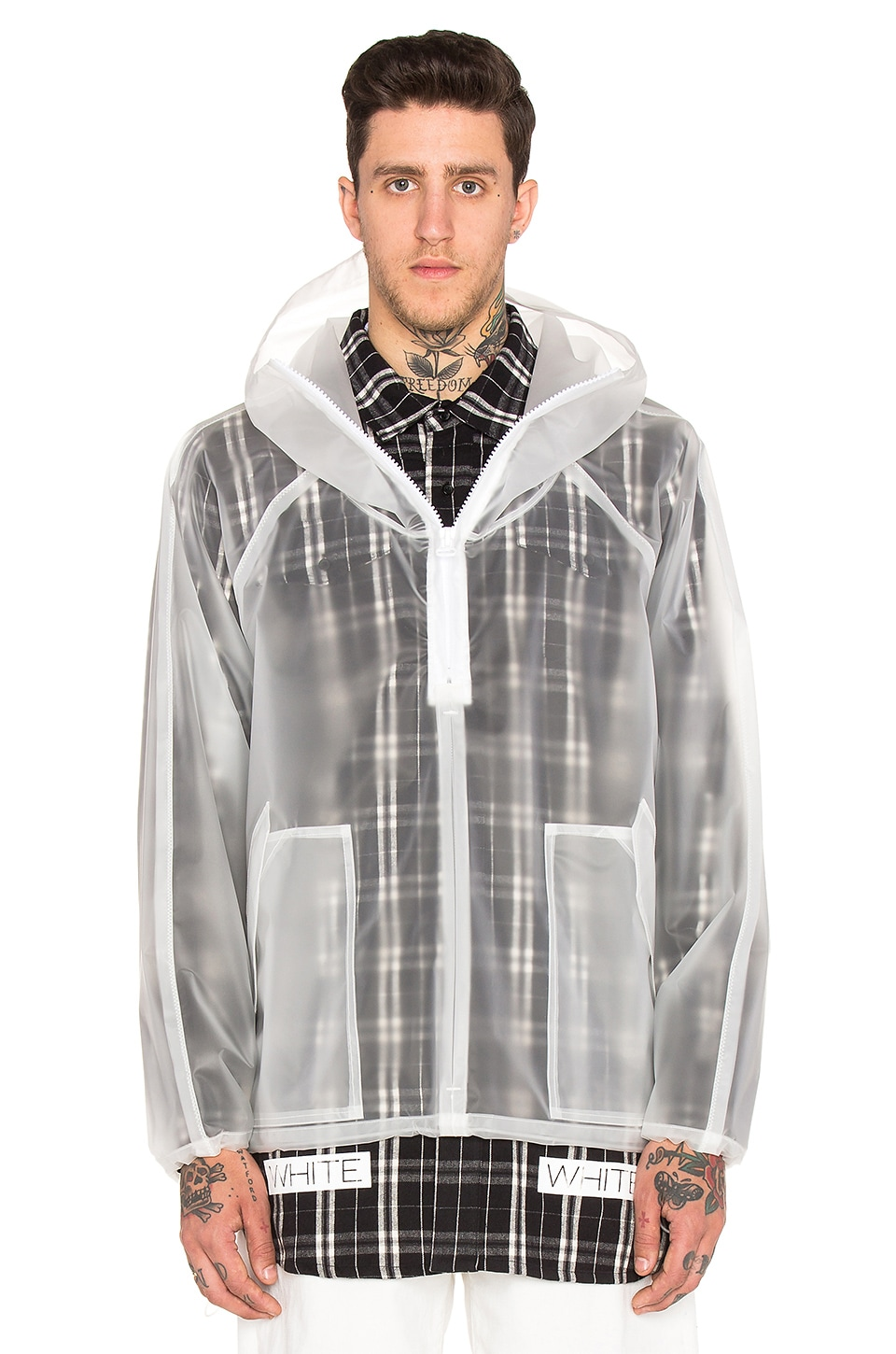 OFF-WHITE Short Raincoat in White