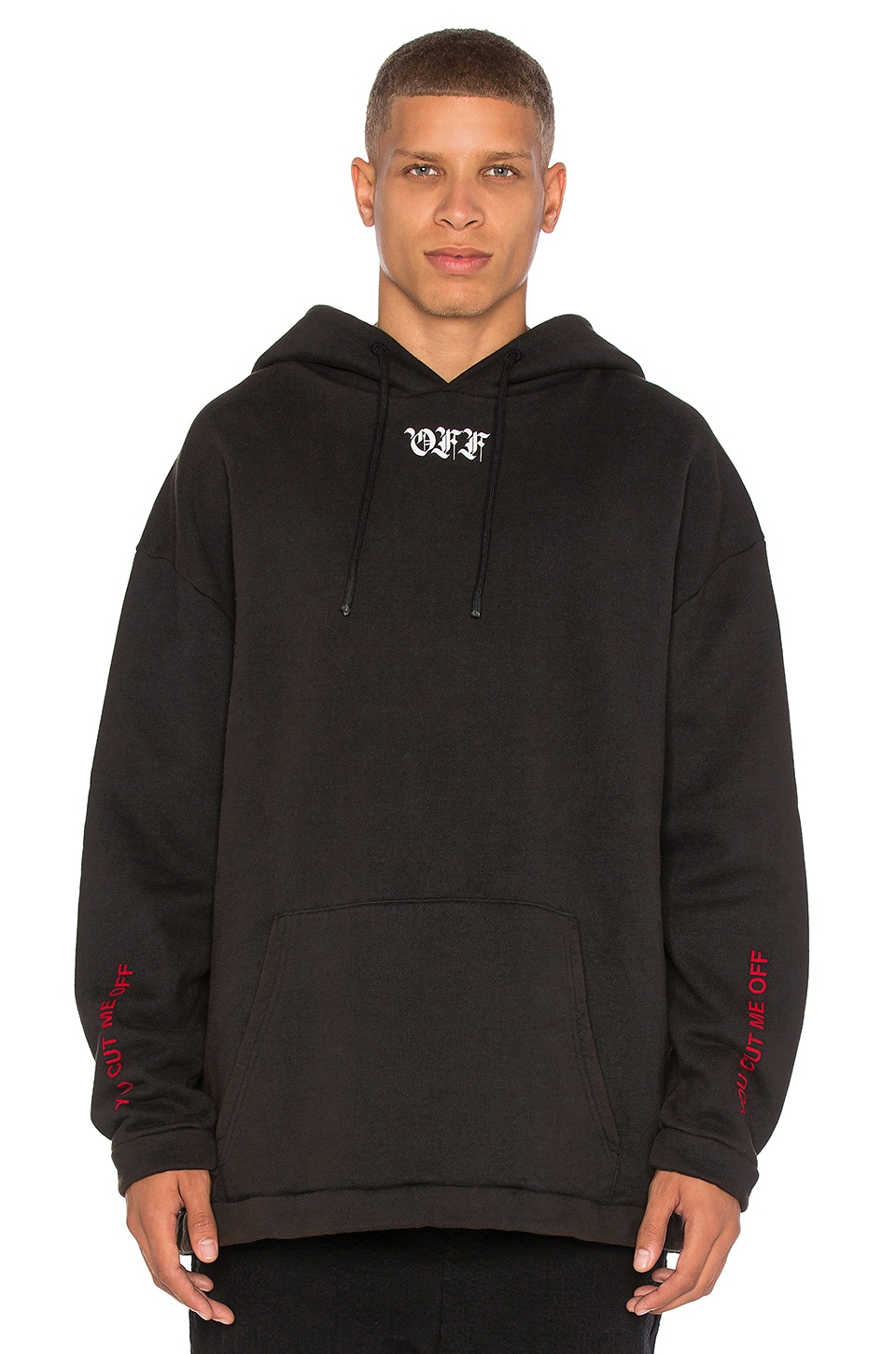 OFF-WHITE Cut Off Hoodie in Black & Red | REVOLVE