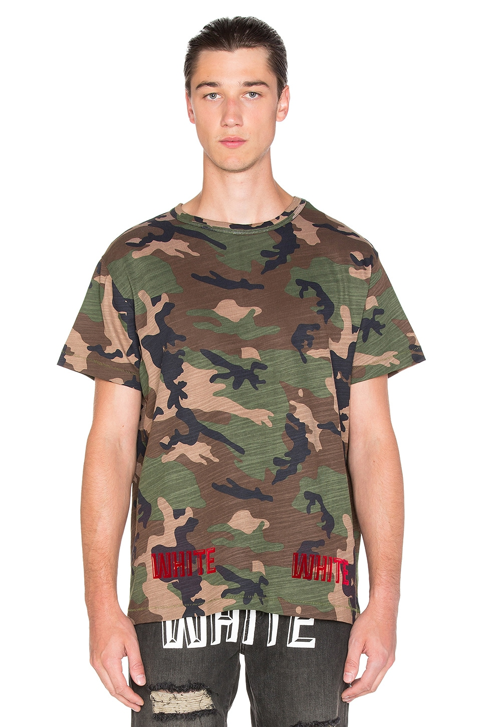 fe499cf75c237 OFF-WHITE Camouflage Tee in All Over Red | REVOLVE