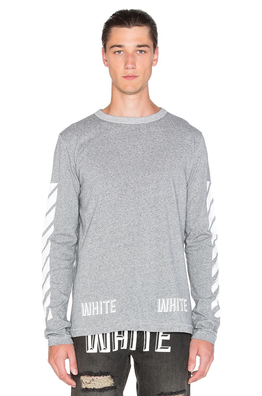 cd37d5b22b7f OFF-WHITE 3D White Long Sleeve Tee in Melange Grey White