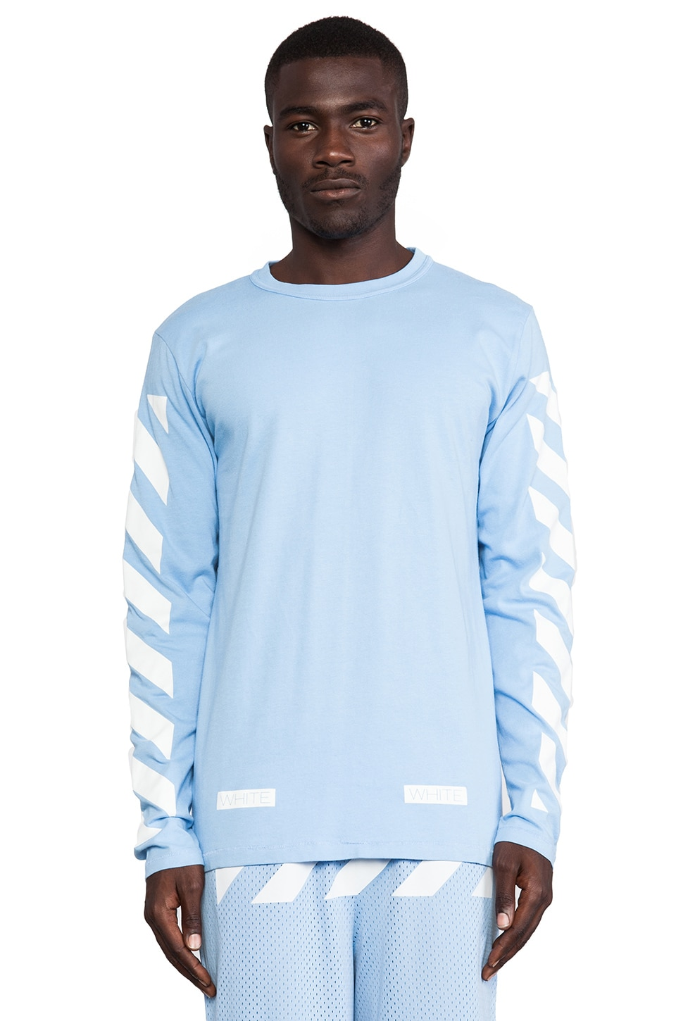 OFF-WHITE Stripe Long Sleeve Tee in Blue