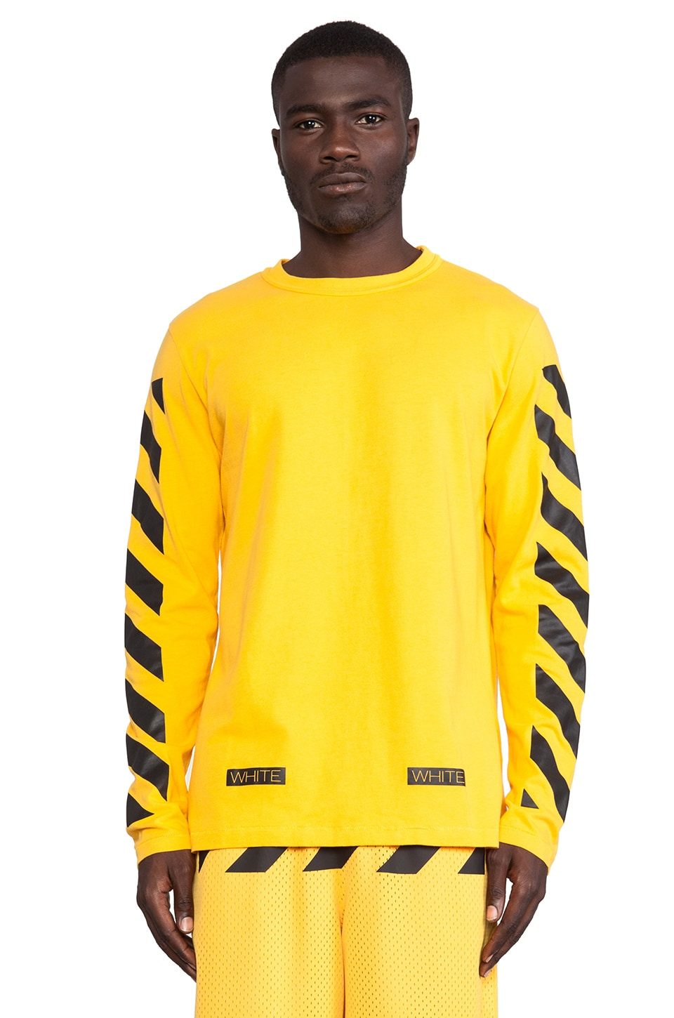 OFF-WHITE Stripe Long Sleeve Tee in Yellow