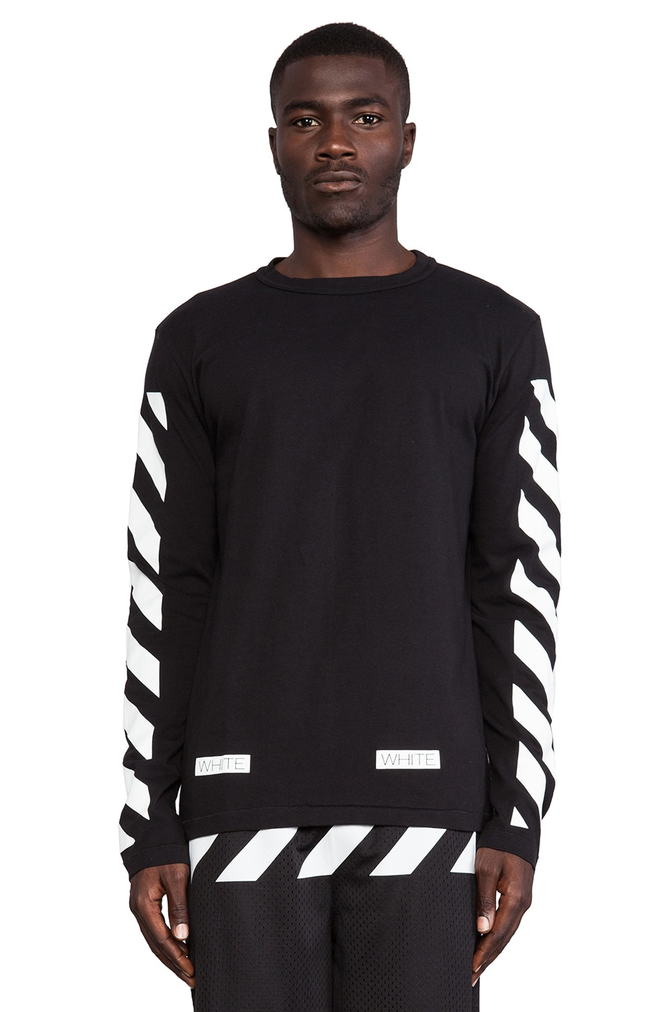 OFF-WHITE Stripe Long Sleeve Tee in Black